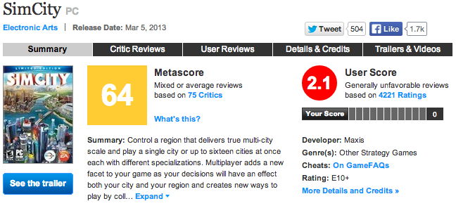 SimCity Reviews on Metacritic