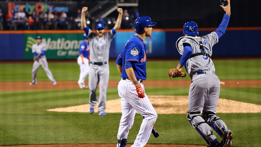 Royals pitcher Wade Davis celebrates with catcher Drew Butera after making the final out of the 2015 World Series. Photo: Getty