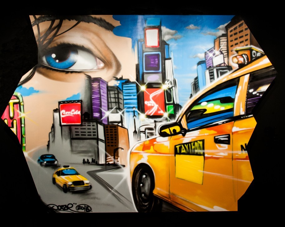 """Chris """"Daze"""" Ellis, Reflections on Times Square #2, 2013, Spray paint on wood, Collection of the Museum of the City of New York."""