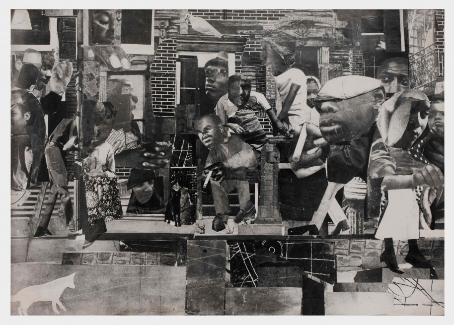 Romare Bearden. The Dove, 1964. Photostat mounted on fiberboard. 38 1/2 x 54 1/2 inches. Courtesy DC Moore Gallery, New York.