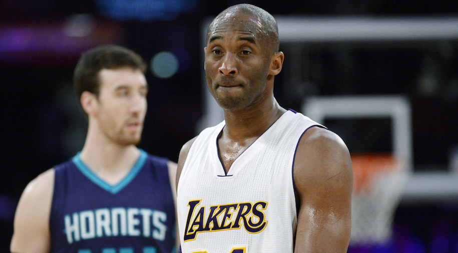 LOS ANGELES, CA - JANUARY 31: Kobe Bryant #24 of the Los Angeles Lakers reacts during the second half of the basketball game against Charlotte Hornets at Staples Center January 31, 2016, in Los Angeles, California. NOTE TO USER: User expressly acknowledges and agrees that, by downloading and or using the photograph, User is consenting to the terms and conditions of the Getty Images License Agreement. (Photo by Kevork Djansezian/Getty Images)
