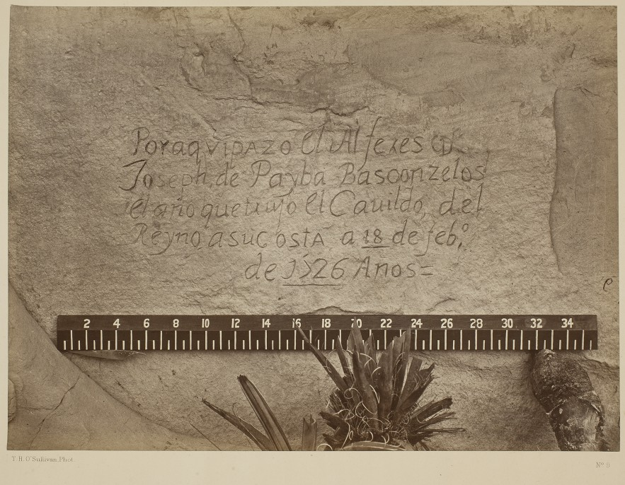 Timothy H. O'Sullivan (American, born Ireland, 1840–1882), Historic Spanish Record of the Conquest, South Side of Inscription Rock, 1873 from the album Geographical Explorations and Surveys West of the 100th Meridian, Albumen silver print. George Eastman Museum, purchase.