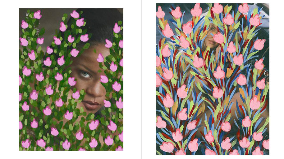 Left: Untitled (Rihanna by Mert Alas and Marcus Piggott for Vogue, April, 2016), 2016. Acrylic on Magazine Page, 10.75 x 8 inches. Right: Untitled (Kristy Garett by Sasha Eisenman for Playboy - last nude playmate/last nude issue, January/February, 2016), 2016. Acrylic on Magazine Page, 10.75 x 8 inches.