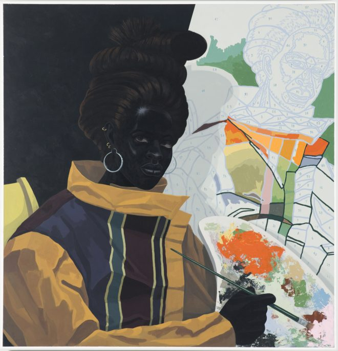 Kerry James Marshall, Untitled (Painter), 2009, acrylic on PVC, 44 5/8 x 43 1/8 x 3 7/8 in., collection of the Museum of Contemporary Art Chicago, gift of Katherine S. Schamberg by exchange, photo by Nathan Keay, © MCA Chicago