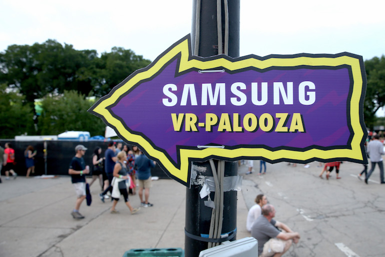 CHICAGO, IL - JULY 29: A sign to Samsung VR-Palooza is seen at Lollapalooza 2016 - Day 2 at Grant Park on July 29, 2016 in Chicago, Illinois. (Photo by Tasos Katopodis/Getty Images for Samsung)