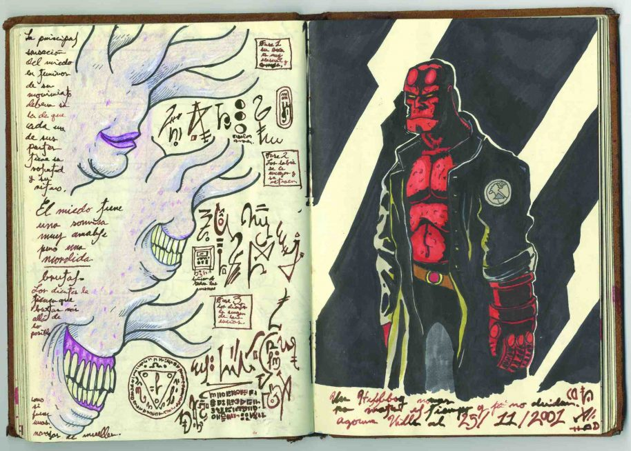Guillermo del Toro, Page from Notebook 2, Leather-bound notebook, ink on paper, 8 x 10 x1 1/2 in., Collection of Guillermo del Toro. © Guillermo del Toro. Photo courtesy Insight Editions.