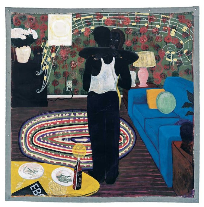 Kerry James Marshall, Slow Dance, 1992-93, mixed media and acrylic on canvas, unframed: 75-1/4 x 74-1/4 in., lent by the David and Alfred Smart Museum of Art, The University of Chicago; Purchase, Smart Family Foundation Fund for Contemporary Art, and Paul and Miriam Kirkley Fund for Acquisitions, photograph ©2015 courtesy of The David and Alfred Smart Museum of Art, The University of Chicago