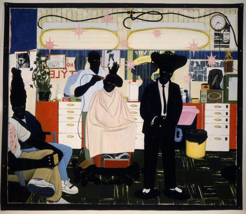 Kerry James Marshall, De Style, 1993, acrylic and collage on canvas 104 x 122 in., Los Angeles County Museum of Art, purchased with funds provided by Ruth and Jacob Bloom, purchased with funds provided by Ruth and Jacob Bloom, digital Image © 2015 Museum Associates / LACMA, licensed by Art Resource, NY