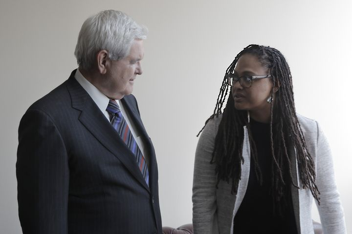 Newt Gingrich and Ava DuVernay, courtesy of Netflix