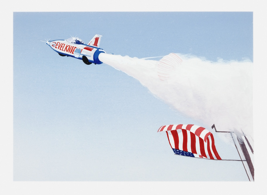 Illustration of Evel Knievel in Skycycle X-2 set against blue sky