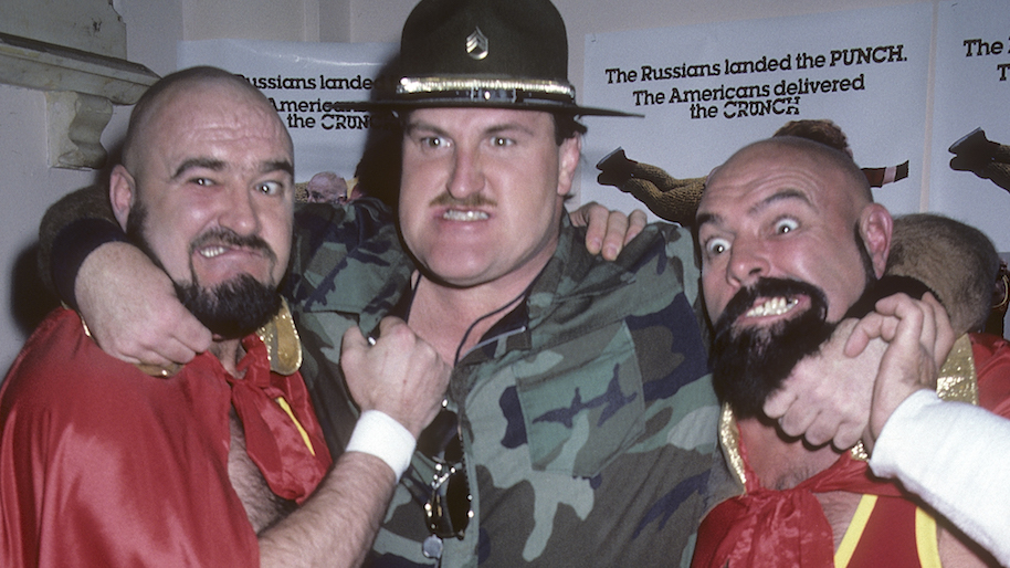 """NEW YORK CITY - MARCH 12: Wrestler Sgt. Slaughter wrestlers The Kremlin Krushers (Alexi Smirnoff and Jay S. York) attend the """"Bad Guys"""" Premiere Party on March 12, 1986 at the Limelight in New York City. (Photo by Ron Galella, Ltd./WireImage)"""