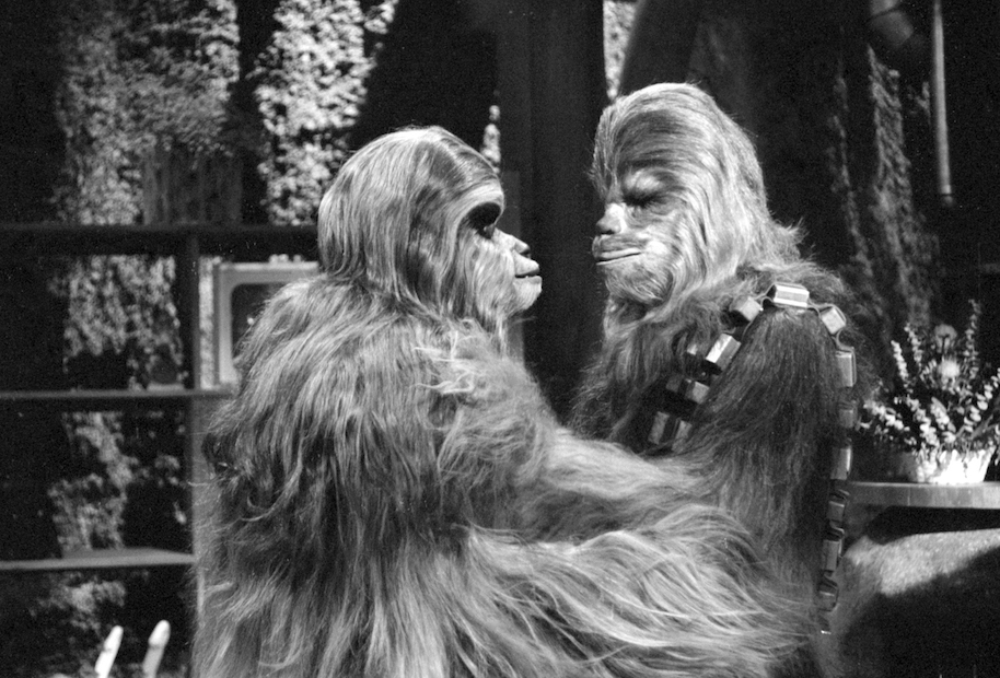 LOS ANGELES - AUGUST 23: THE STAR WARS HOLIDAY SPECIAL. Mickey Morton (as Malla) and Peter Mayhew (as Chewbacca). Image dated August 23, 1978. (Photo by CBS via Getty Images)