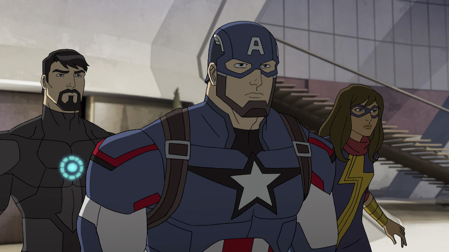 """MARVEL'S AVENGERS: ULTRON REVOLUTION - """"The Kids Are Alright"""" - Captain America and Iron Man partner with new and young Inhumans - Inferno and Ms. Marvel - to stop another Inhuman, The Ghost, from stealing Friday. This episode of """"Marvel's Avengers: Ultron Revolution"""" airs Sunday, August 07 (8:30 - 9:00 A.M. EDT) on Disney XD. (Photo by Marvel/ABC via Getty Images) TONY STARK, CAPTAIN AMERICA, MS. MARVEL"""