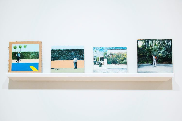 Installation view of works by Ramiro Gomez, The Green Art Gallery at Biola University.
