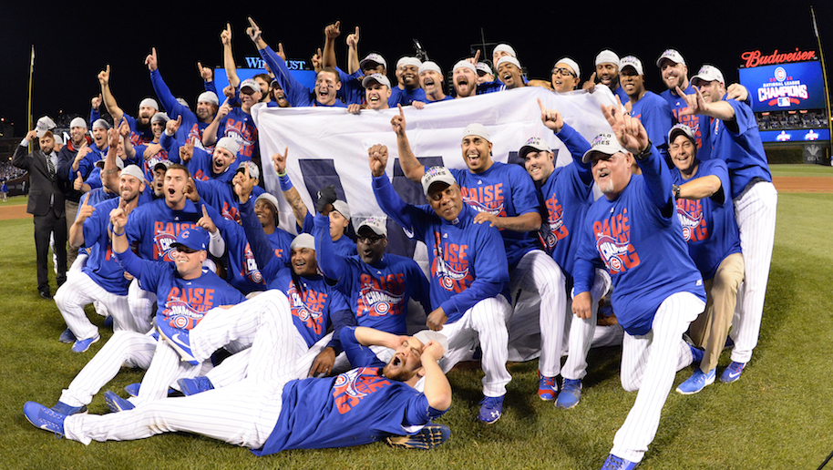 Members of the Chicago Cubs pose for a team photo after defeating the Los Angeles Dodgers in Game 6 of the NLCS at Wrigley Field on Saturday, October 22, 2016 in Chicago, Illinois. (Photo by Ron Vesely/MLB Photos via Getty Images)
