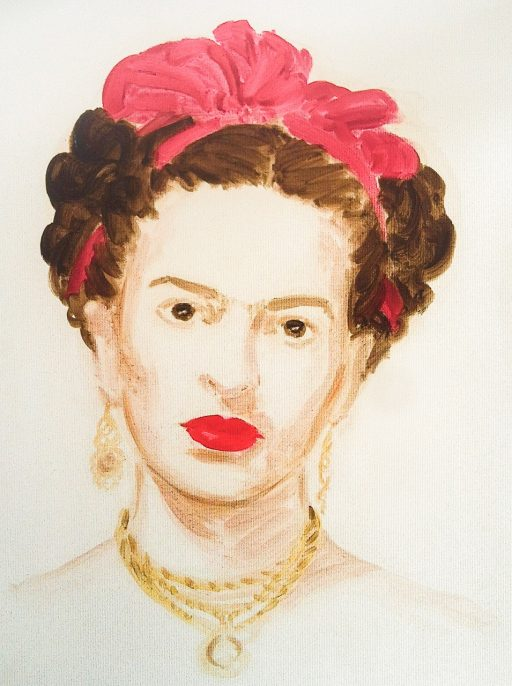 "Frida Kahlo. From the series ""The History of Art"", 2014 - 2016. Oil on paper. 16 x 12 inches."