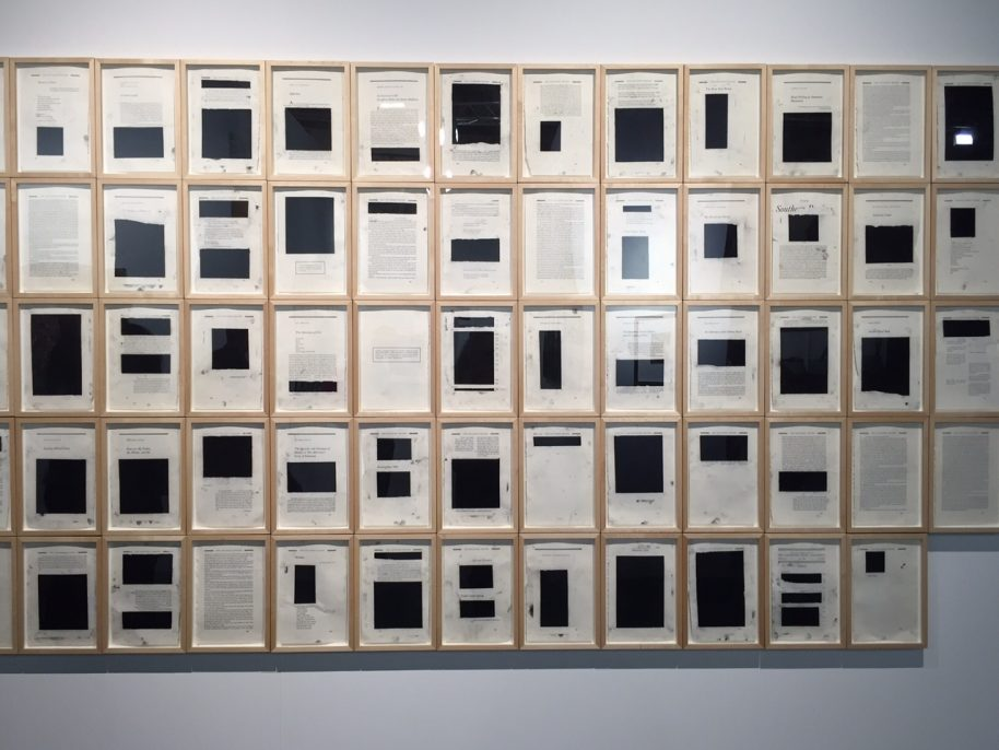 Bethany Collins, Southern Review, 1985 (Special Edition), 2014-15. Charcoal on paper, sixty-four elements, 57 ½ x 104 in.