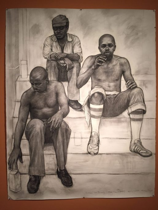 Three Men on Bowery (After Toyo's 1983 photo) 2011, charcoal on arches paper 52 14 x 66 3/4 inches