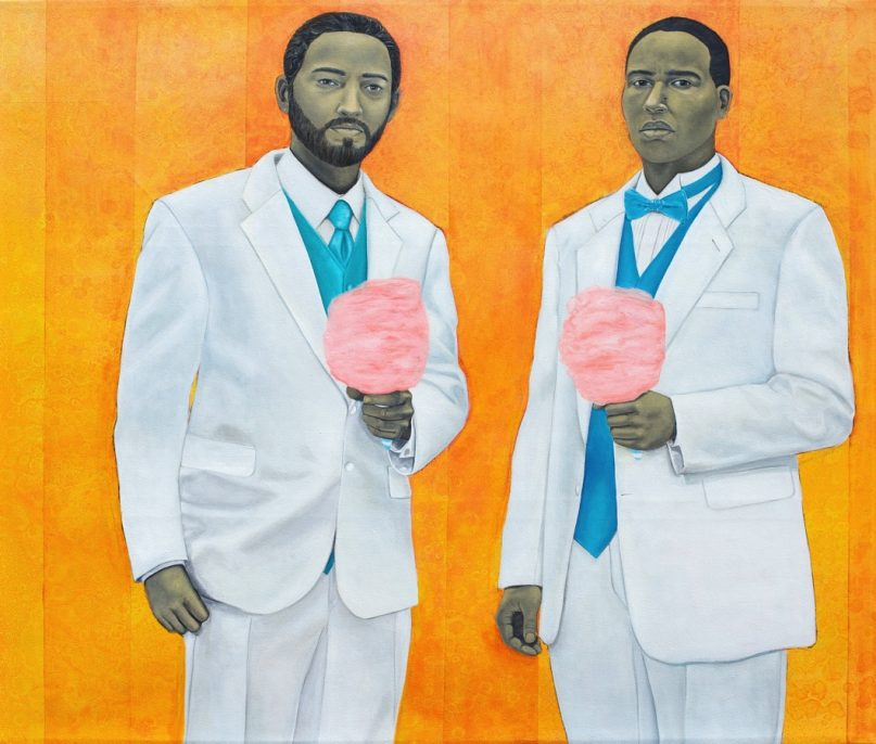 Amy Sherald, High Yella Masterpiece: We Ain't No Cotton Pickin' Negroes, 2011. Oil on canvas; 59 x 69 inches (149.86 x 175.26 cm). Collection of Keith Timmons, ESQ, CPA. Image courtesy of the artist and Monique Meloche Gallery, Chicago, Illinois. © Amy Sherald.