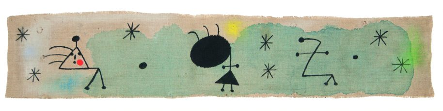 Joan Miró, Personages, bird, stars, 1944, oil on canvas, 14x75cm (6x30in.), signed, dated and titled on the reverse. Inscribed on the back: Miró/1944/personnages, oiseau, étoiles