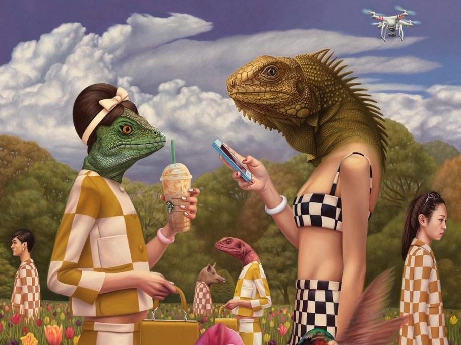 """Artwork: Alex Gross. Detail from """"Sunday in the Park with Reptilians"""". Oil on canvas, 57.5 x 50 inches."""