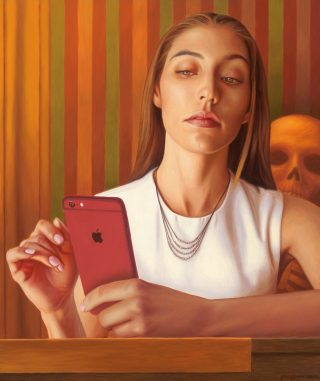 """Artwork: Alex Gross. """"Mirror after Tooker"""". Oil on canvas, 23.25 x 19.5 inches."""