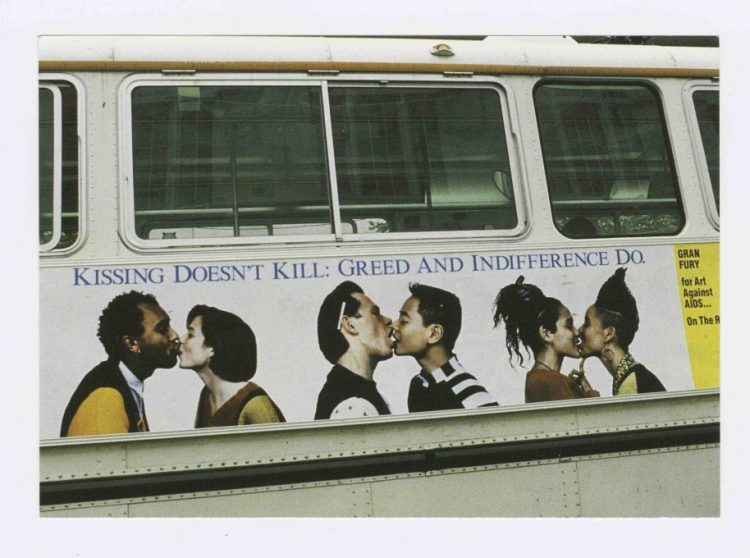 Kissing Doesn't Kill: Greed and Indifference Dobus poster, design by Gran Fury for Art Against AIDS/On The Road and Creative Time, Inc., 1989, Gran Fury, Courtesy The New York Public Library Manuscripts and Archives Division