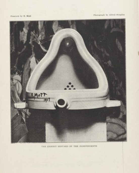 Fountain by R. Mutt, 1917, Alfred Stieglitz, Published in The Blind Man (No. 2), Edited by Marcel Duchamp, Henri-Pierre Roché, and Beatrice Wood, May 1917, Philadelphia Museum of Art, © Artists Rights Society (ARS), New York / ADAGP, Paris.