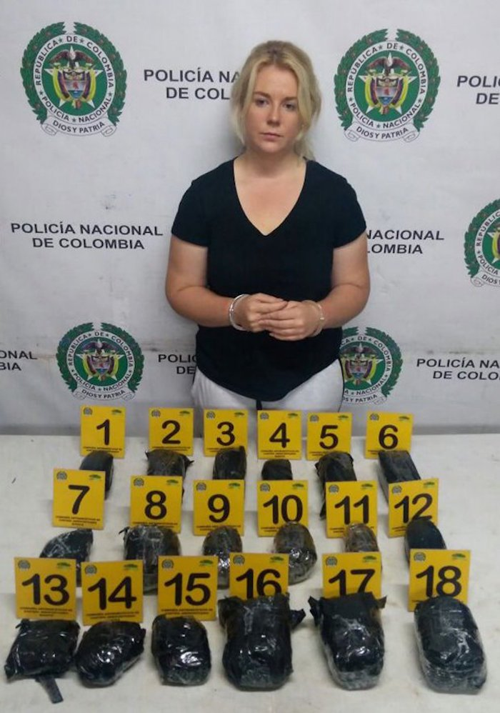 epa05939647 A handout photo made available by the press office of the Colombian Anti-narcotics Police, on 01 May 2017 shows Australian citizen Cassandra Sainsbury during her detention with 5.8 kilos of cocaine at the International Airport the Dorado, in Bogota, Colombia, on 11 April 2017. EPA/Col Anti-narcotics Police / HANDOUT HANDOUT EDITORIAL USE ONLY/NO SALES