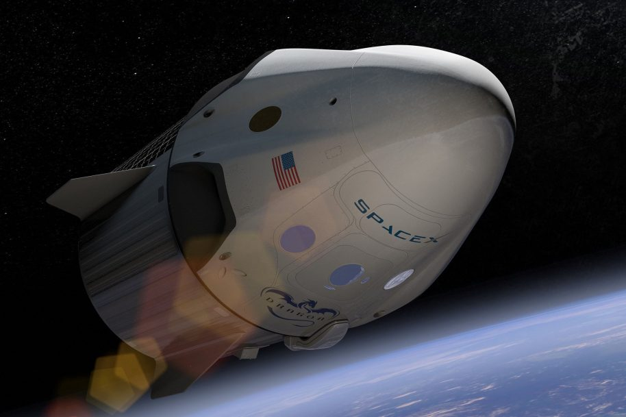 Crew Dragon Artist Depiction: The SpaceX unveil event of Crew Dragon, the next generation spacecraft designed to carry astronauts to Earth orbit and beyond. The spacecraft will be capable of carrying up to seven crewmembers, landing propulsively almost anywhere on Earth, and refueling and flying again for rapid reusability. As a modern, 21st century manned spacecraft, Crew Dragon will revolutionize access to space. Courtesy SpaceX Flickr.