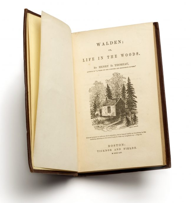 Henry D. Thoreau (1817–1862), First edition of Walden; or, Life in the Woods, Boston: Ticknor and Fields, 1854. The Morgan Library & Museum; bequest of Gordon N. Ray, 1987.