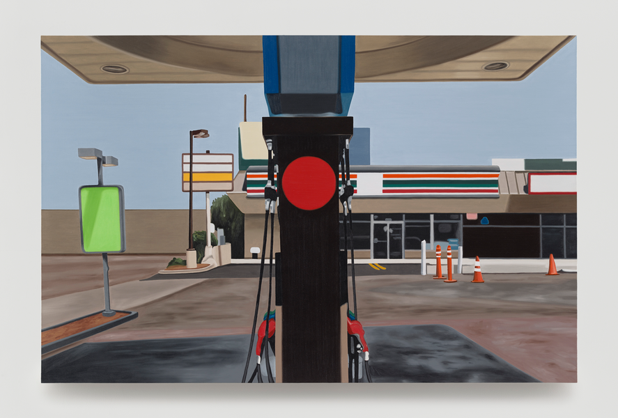 Peter Cain. Mobil, 1996 .Oil on linen, 37 x 57 inches, 94 x 145 cm.