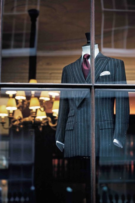 Crosshairs trained on the window of Anderson & Sheppard, one of several distinguished tailors in the area to have dressed men of distinction for over a hundred years.. Munster/The Rake/2008