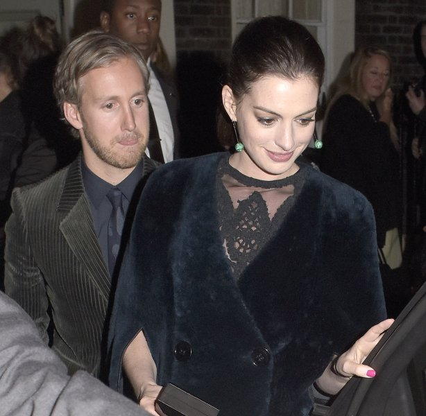 Anne Hathaway leaving Soho House venue for the Premiere after partyFeaturing: Anne Hathaway, Adam ShulmanWhere: London, United KingdomWhen: 27 Sep 2015Credit: WENN.com