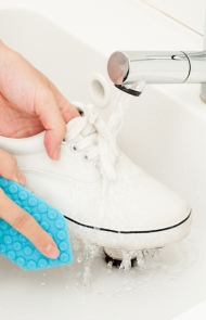Use gentle shampoo on oil stains.