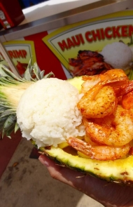 Grilled Shrimp with Rice in a Pineapple Bowl