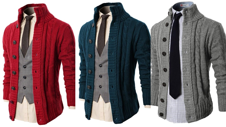 H2H Men's Cable-Knit Button Down Cardigan