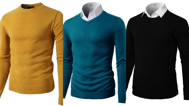 H2H Mens Casual Slim Fit Pullover