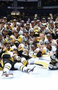 The famous group photo on the ice