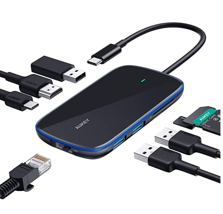 USB C Hub AUKEY 8 in 1 Aluminum-Glass Type C Hub with Ethernet Port,4K USB C to HDMI, 3 USB 3.0 Ports, 100W USB C PD Charging, SD/TF for MacBook, Chromebook and Other USB C Laptops